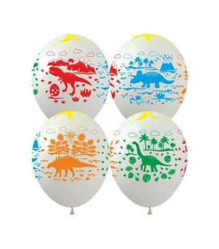 """Кульки поштучно з малюн. Динозаври DM-3 12"""" Ш-00457 FlexMetal"""