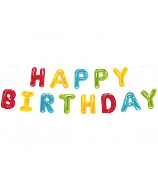 """Декорація Гірлянда """" Happy birthday"""" Кольорова 2,74см папір,елемен.з металу,нитка 73108 Unigue"""