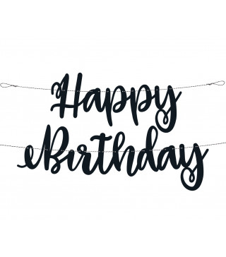 """Декорація Гірлянда """"Happy Birthday """" чорна Party папір 73148 Unigue"""