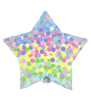 """Кульки фольг з малюнк. Зірка з конфетті"""" (2,5г) SH-185 Китай"""