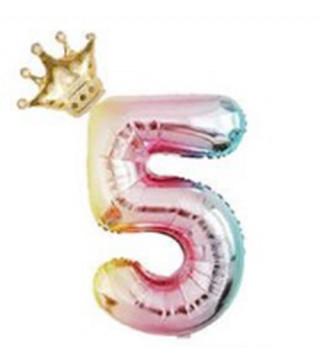 """Кульки Цифра """"5"""" з коронкою хамеліон (6пор) фольга 730005 Китай"""