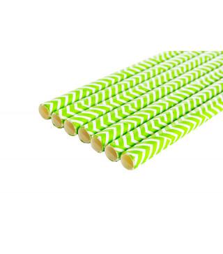 Трубочки для коктелю білі в зелений зігзаг 25шт/уп. папір 49894 Китай