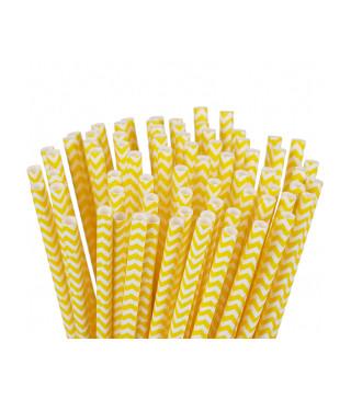 Трубочки для коктелю білі в жовтий зігзаг 25шт/уп. папір 49893 Китай