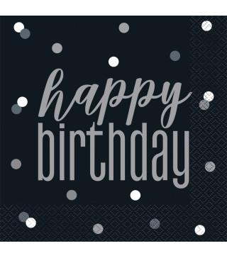 """Серветки """"Happy birthday""""чорні 16 шт/уп. 83582 Unigue"""