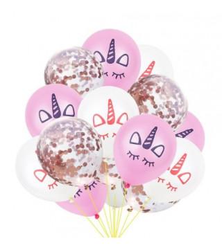"""Набір кульок Єдиноріг""""срібне конфеті 15 шт./уп. латекс 16364 Китай"""