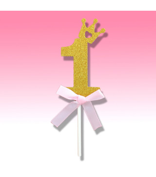 Декорация цифра 1 с золотой посыпкой и бантом