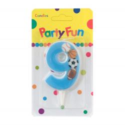 """Свічка цифра """"9""""Футбол сині PartyFun парафін 03909 Китай"""