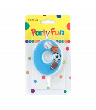 """Свічка цифра """"0""""Футбол сині PartyFun парафін 03900 Китай"""