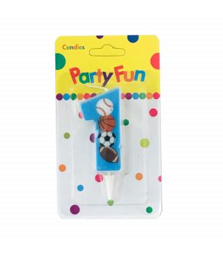 """Свічка цифра """"1""""Футбол сині PartyFun парафін 03901 Китай"""
