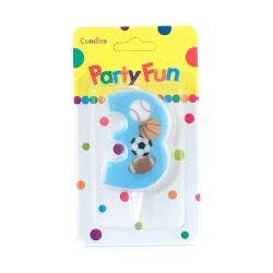 """Свічка цифра """"3""""Футбол сині PartyFun парафін 03903 Китай"""