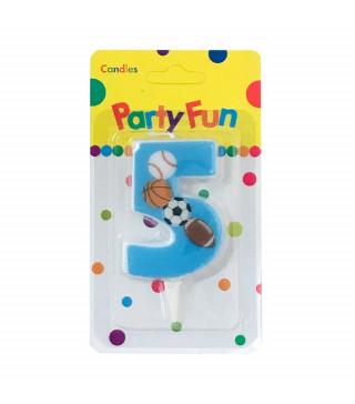 """Свічка цифра """"5""""Футбол сині PartyFun парафін 03905 Китай"""