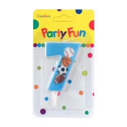 """Свічка цифра """"7""""Футбол сині PartyFun парафін 03907 Китай"""