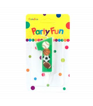 """Свічка цифра """"1""""Футбол зелені PartyFun парафін 03801 Китай"""