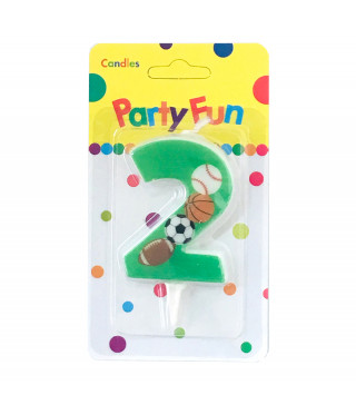 """Свічка цифра """"2""""Футбол зелені PartyFun парафін 03802 Китай"""