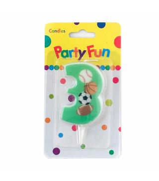 """Свічка цифра """"3""""Футбол зелені PartyFun парафін 03803 Китай"""