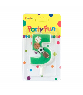 """Свічка цифра """"5""""Футбол зелені PartyFun парафін 03805 Китай"""