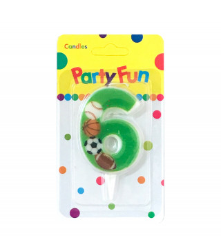 """Свічка цифра """"6""""Футбол зелені PartyFun парафін 03806 Китай"""