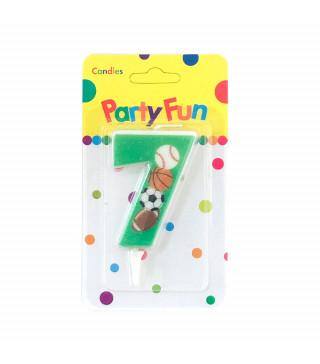 """Свічка цифра """"7""""Футбол зелені PartyFun парафін 03807 Китай"""