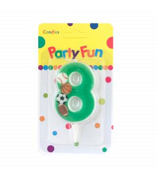"""Свічка цифра """"8""""Футбол зелені PartyFun парафін 03808 Китай"""