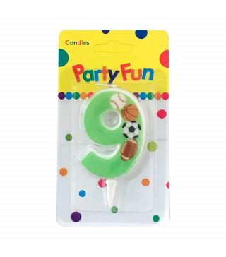 """Свічка цифра """"9""""Футбол зелена PartyFun парафін 03809 Китай"""