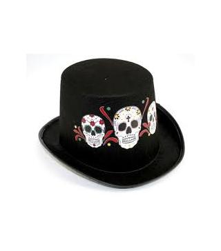 Капелюхи,шапки Циліндр чорний з черепами 5008 Китай