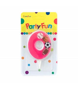 """Свічка цифра """"0""""Футбол рож. PartyFun парафін 03700 Китай"""