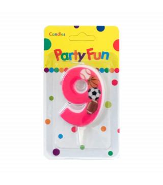 """Свічка цифра """"9""""Футбол рож. PartyFun парафін 03709 Китай"""