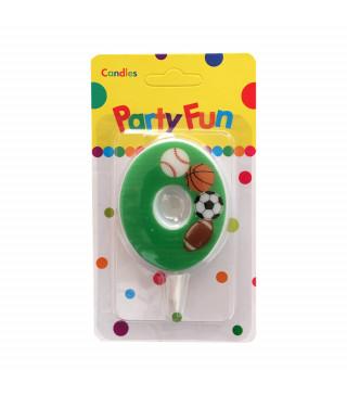 """Свічка цифра """"0""""Футбол зелені PartyFun парафін 03800 Китай"""