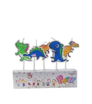 Свічка в торт з фігурками Динозаврики 5шт/уп парафін 12307 Китай