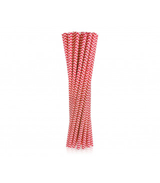 Трубочки для коктелю білі в червоний. зігзаг 25шт/уп. папір 49897 Китай