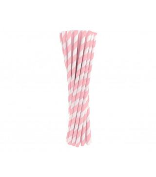 Трубочки для коктелю папер білі в рожеву полоску10шт/уп. 49433 Польща