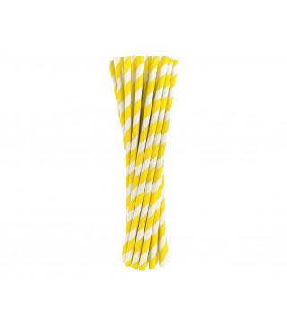 Трубочки для коктелю в жовту-білу полоску 25шт/уп. папір 49898 Китай
