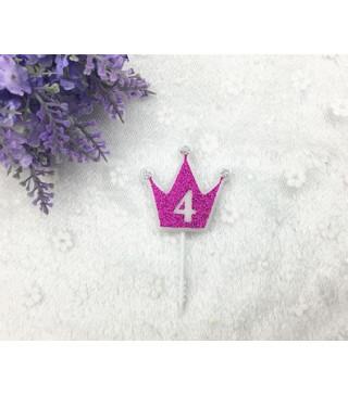 """Свічка цифра """"4"""" Коронка фуксія з блисківками candles парафін 30554 Китай"""