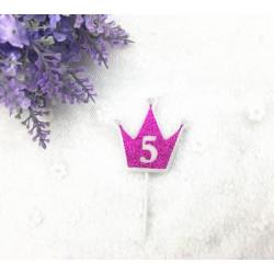 """Свічка цифра """"5"""" Коронка фуксія з блисківками candles парафін 30555 Китай"""