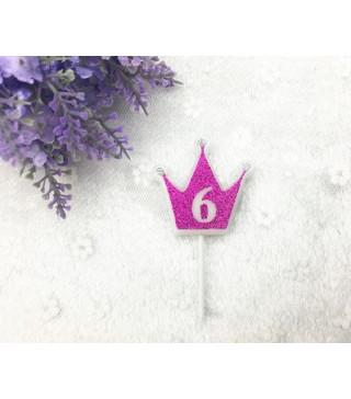 """Свічка цифра """"6"""" Коронка фуксія з блисківками candles парафін 30556 Китай"""