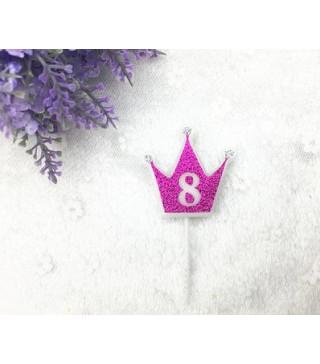 """Свічка цифра """"8"""" Коронка фуксія з блисківками candles парафін 30558 Китай"""