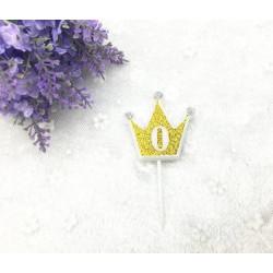 """Свічка цифра """"0"""" Коронка золото з блисківками candles парафін 20550 Китай"""