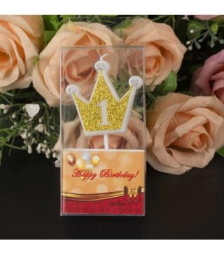 """Свічка цифра """"1"""" Коронка золото з блисківками candles парафін 20551 Китай"""