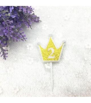 """Свічка цифра """"2"""" Коронка золото з блисківками candles парафін 20552 Китай"""