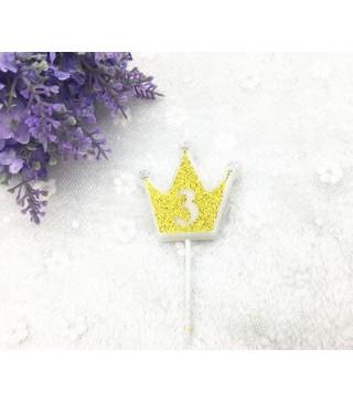 """Свічка цифра """"3"""" Коронка золото з блисківками candles парафін 20553 Китай"""