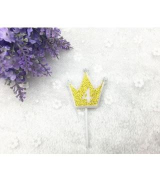 """Свічка цифра """"4"""" Коронка золото з блисківками candles парафін 20554 Китай"""