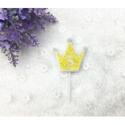 """Свічка цифра """"5"""" Коронка золото з блисківками candles парафін 20555 Китай"""