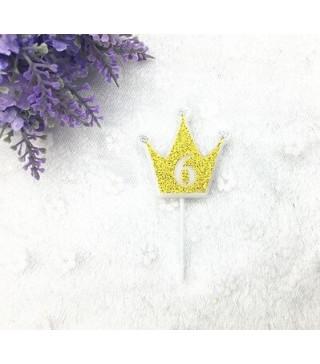 """Свічка цифра """"6"""" Коронка золото з блисківками candles парафін 20556 Китай"""