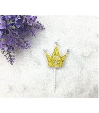 """Свічка цифра """"7"""" Коронка золото з блисківками candles парафін 20557 Китай"""