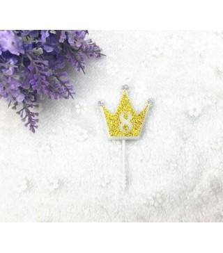 """Свічка цифра """"8"""" Коронка золото з блисківками candles парафін 20558 Китай"""