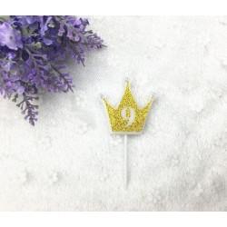 """Свічка цифра """"9"""" Коронка золото з блисківками candles парафін 20559 Китай"""