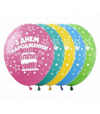 Кульки поштучно з малюн. Тортик ЗДнем Народж. латекс Ш-01907 Gemar