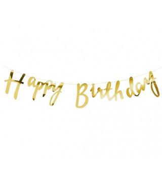 Декорація Гірлянда Happy Birthday золота папір,елемен.з металу,нитка 80004 Китай