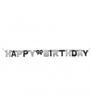 Декорація Гірлянда Happy Birthday чорно-срібні блискавки 127см папір 55409 Unigue