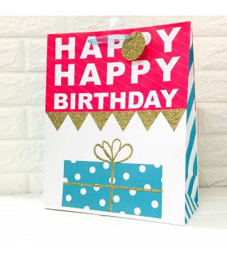 Подарунковий пакет Happy Birthday з глітером 32,5*26*12,5см. картон 958962 Гулівер